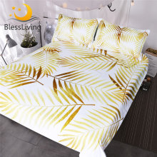 BlessLiving Modern Palm Leaf Bedding Set Tropical Floral Botanic Print Duvet Cover 3pcs Gold White Coastal Life Havana Bed Set(China)