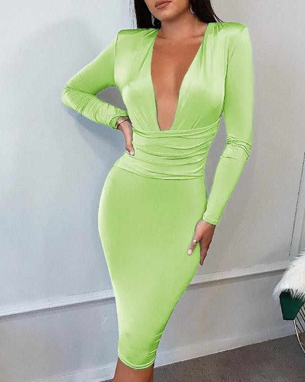 Solid Long Sleeve Ruched Tight Waist Bodycon Dress Ivrose Hustler 1