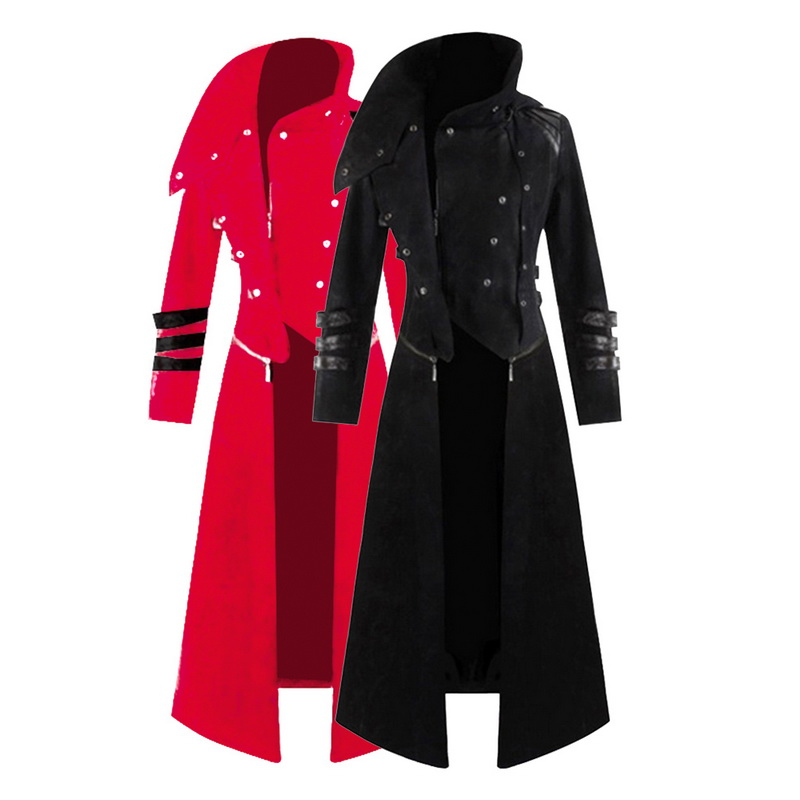 Vintage Steampunk Coat Women Gothic Victorian Overcoat Retro Long Jacket Unisex