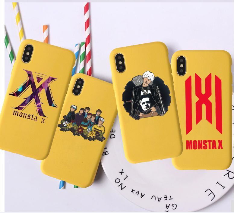Monsta X Candy Color TPU Case phone For iphoneX 7 XS XR XSMA NCT 127 Kpop grupo Menino Pink Red Yellow White Cover