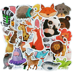 25 / 50 PCS Mix Styles Cute Watercolor Animal Sticker Neon Light Warnings DIY Funny Stickers for Laptop Car Luggage Bike Toys