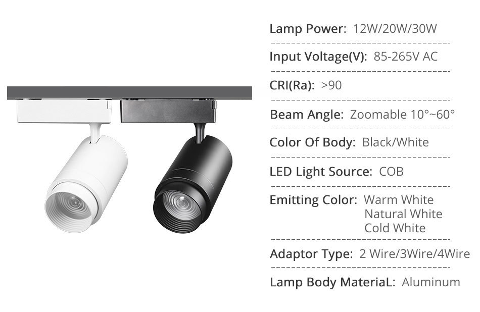 Zoommable 12W 20W 30W LED Track Light 2 3 4 Wire 3 Phase Dimmable Rail Spot Lighting Fixtures Spotlights Track Ceiling Zoom Lamp (2)