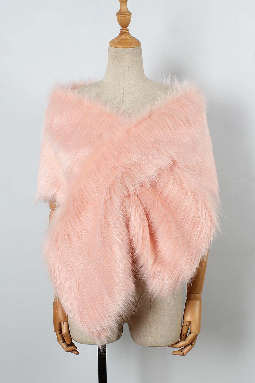 The autumn and winter new imitation fur big cape neck scarf multi-color joker scarf bride dress cross cape (20)