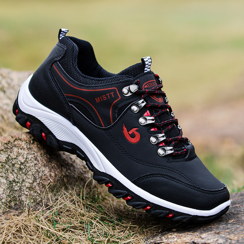 Outdoor Sneakers Hiking-Shoes Sports-Boots Trekking Men PU Breathable for Male 3-Colors title=