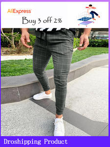 Chino Pants Slim-Fit Elastic Skinny Plaid-Design Mens Side-Stripe Super-Comfy