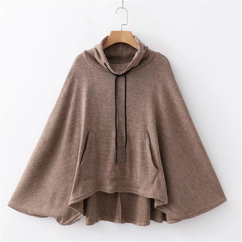 Batwing Sleeve Women Hoodies Cloak Oversized Pullovers Female Sweatshirts Autumn Loose Fashion Ladies Hoodies Pocket Sweatshirts