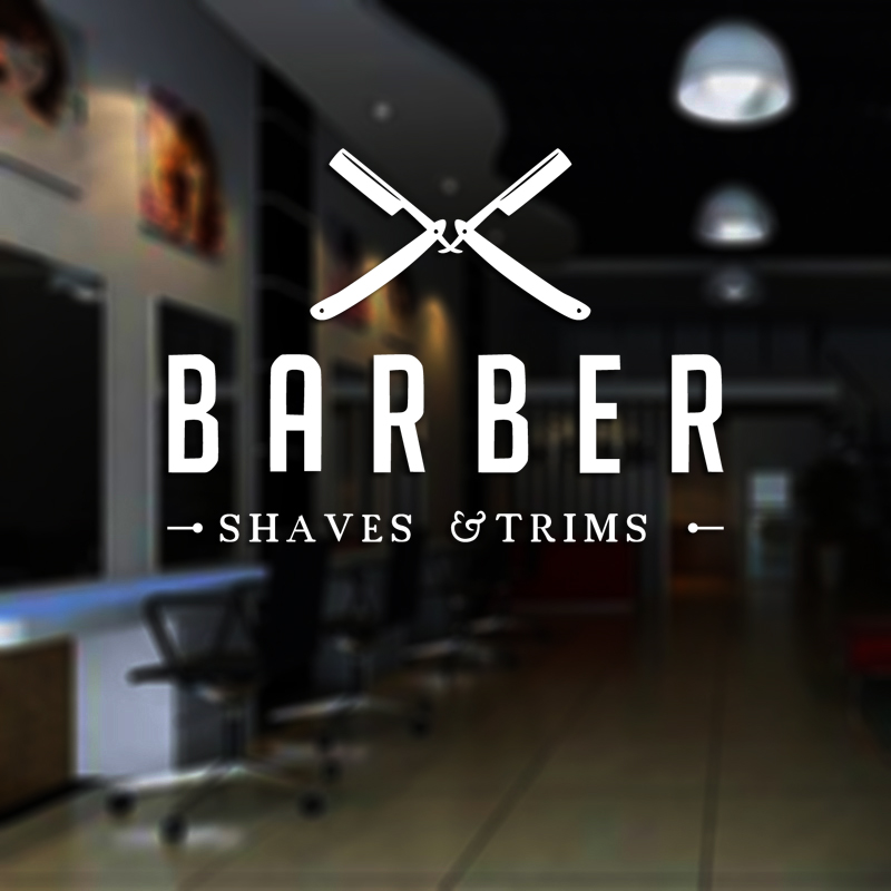 Man Shavers Barber Shop Sticker Chop Bread Decal Haircut Posters Vinyl Wall Art Decals Decor Windows Decoration Mural