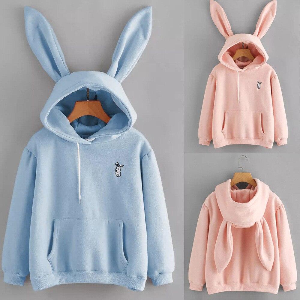 Women's Long Sleeve Rabbit Sweatshirts Hoodie With Ears