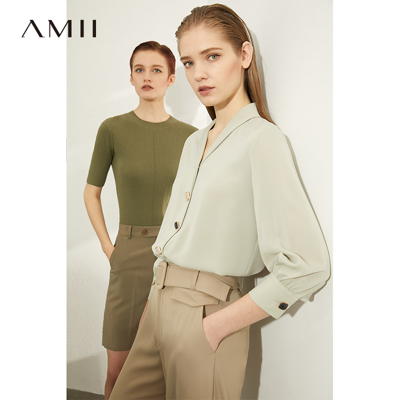 AMII Minimalism Women Autumn Winter Solid Kintted Sweater Tops Causal Oneck Half Sleeve Slim FIt Knitted Pullover  12020005