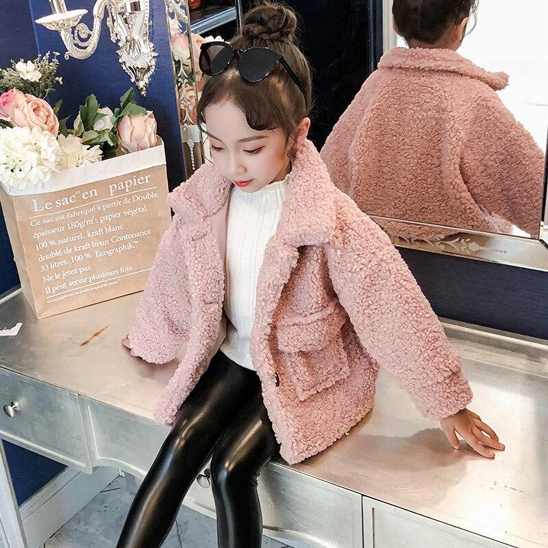 Happy childhood Baby Girls Princess Faux Fur Kids Girls Faux Fur Lace Fleece Lapel Coat Winter Warm Jacket Outwear