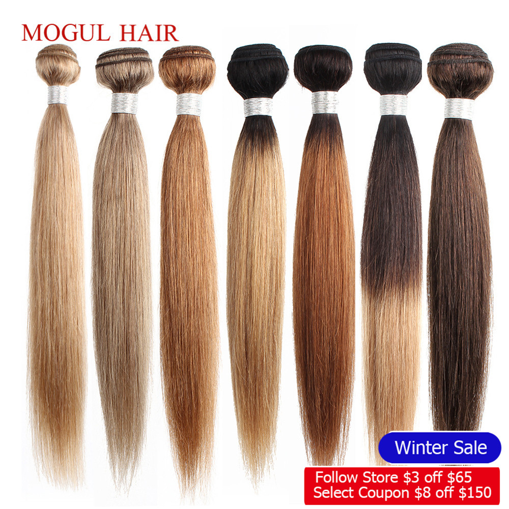 Bundles Hair-Weave Human-Hair-Extension Ash-Blonde Remy Indian Color Straight Ombre Mogul title=