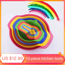10Pcs Set Mixing Bowl Colour Measure Cup Spoons Baking Measurement Utensil Kitchen Measuring Colander Colander Sifter Tool