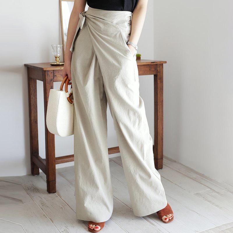 H597b54f811a146fe83cb42330cf28b93C - Spring / Autumn Full Length Side Bow Tie Wide Leg Pants
