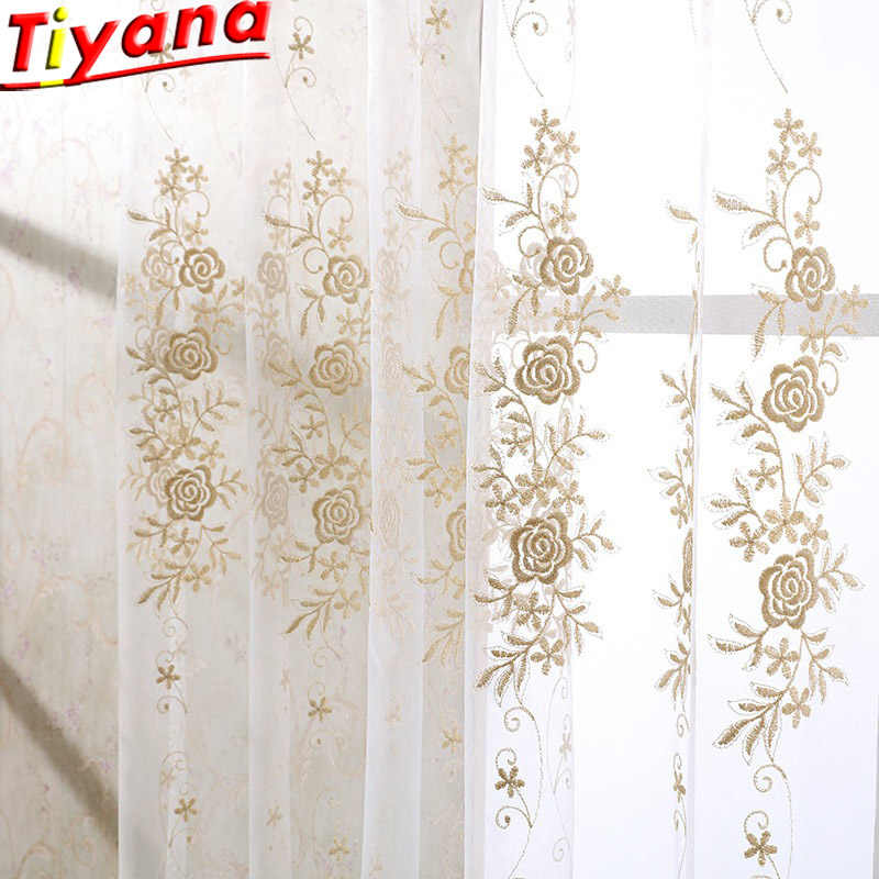 High-grade Golden Embroidery Flower Screens European Style Voile Tulle Sheer Bedroom Living Room Windows Curtain Curtains 364*40
