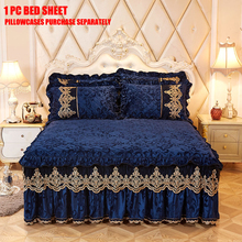 Bed Skirt Bed-Sheet Spread Mattress-Bed Royal-Blue Home-Decoration Queen-Size 1/3-Pcs