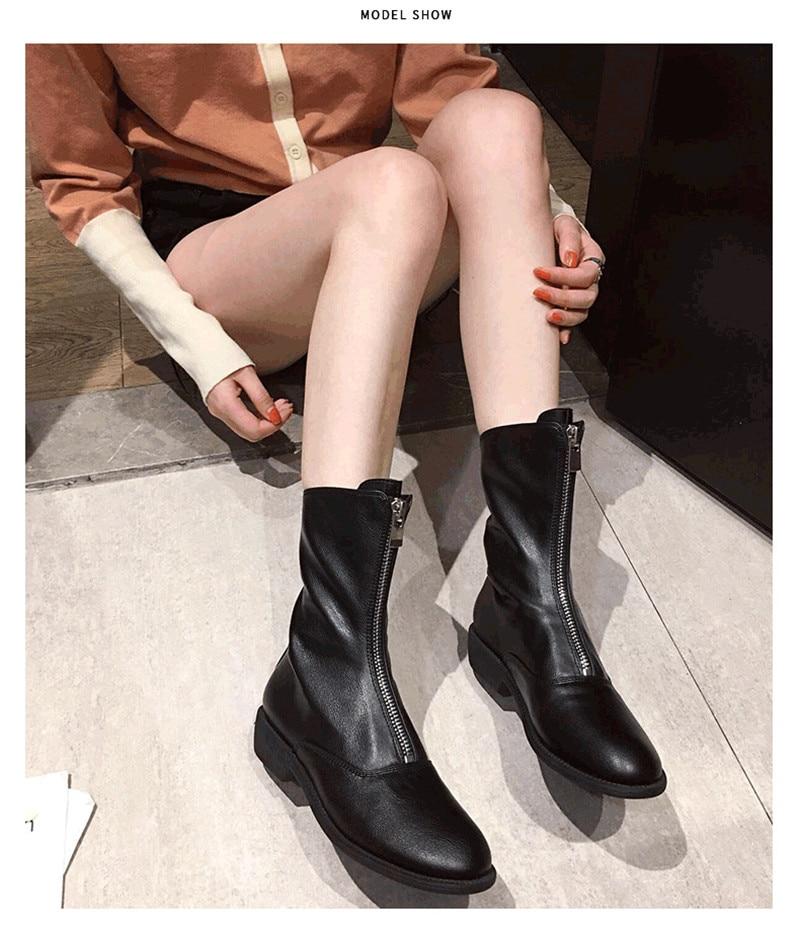 Winter Autumn Women Ankle Boots Punk Front Zipper Ladies Shoes PU Leather Boots Women Low Heels Female Shoes Pump Botas Mujer (12)