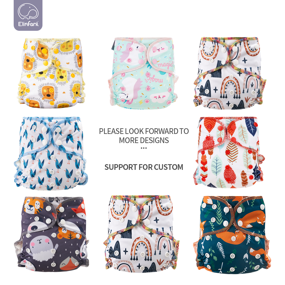 Elinfant Eco-Friendly Baby Cloth Diaper Reusable Heavy Wetter Hybrid  AIO/AI2 Waterproof  Bamboo Washable  aio Baby Nappy