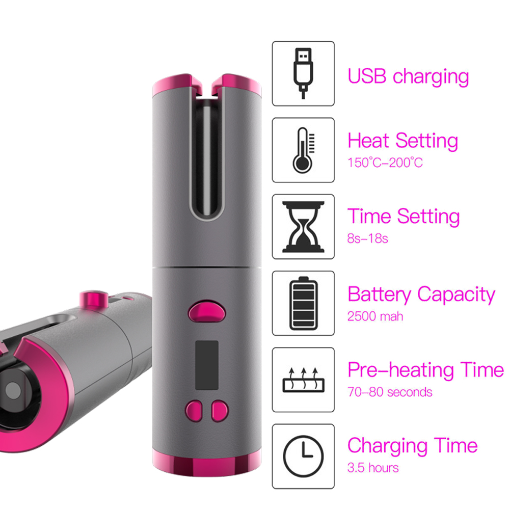 Appliance - Cordless Automatic Hair Curler iron wireless Curling Iron USB Rechargeable Air Curler for Curls Waves LCD Display Ceramic Curly