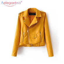 Aelegantmis Jacket Women Street-Coat Short Motorcycle Zipper Faux Basic Autumn Fashion