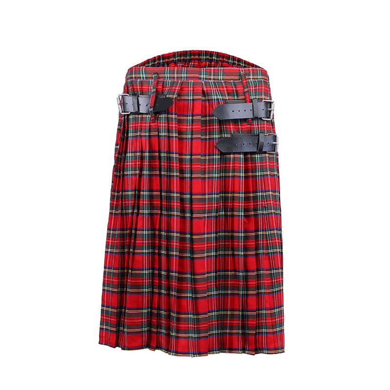 DIHOPE Trousers Belt Chain Scottish Tartan Plaid Mens Kilt Punk Brown Gothic Pleated title=