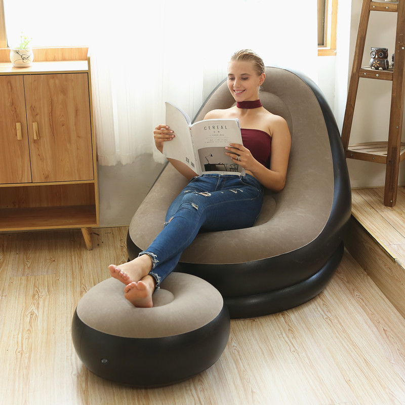 BEAN BAG lazy sofa inflatable folding recliner outdoor sofa bed with pedal comfortable flocking single sofa chair pile coating title=
