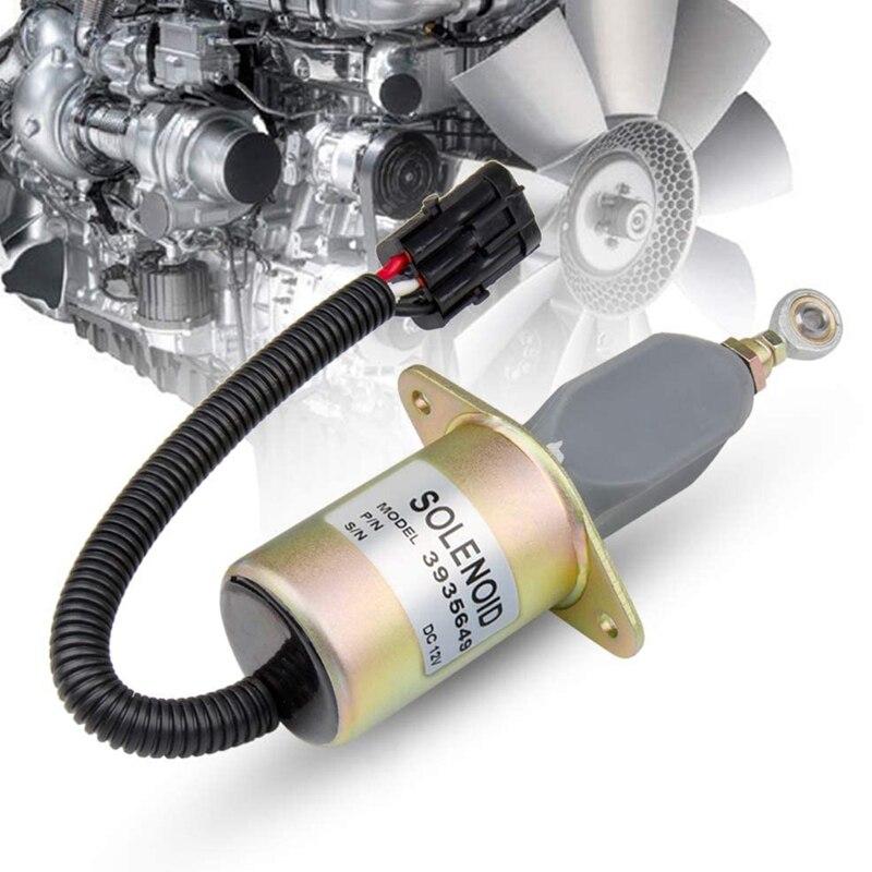 SA-4764-12 Stop Solenoid 3935649 12V for Cummins Dodge RAM Diesel Engine 4B 6B 6CT 5.9L Fuel Shut Off Solenoid Excavator Engine Aftermarket Parts