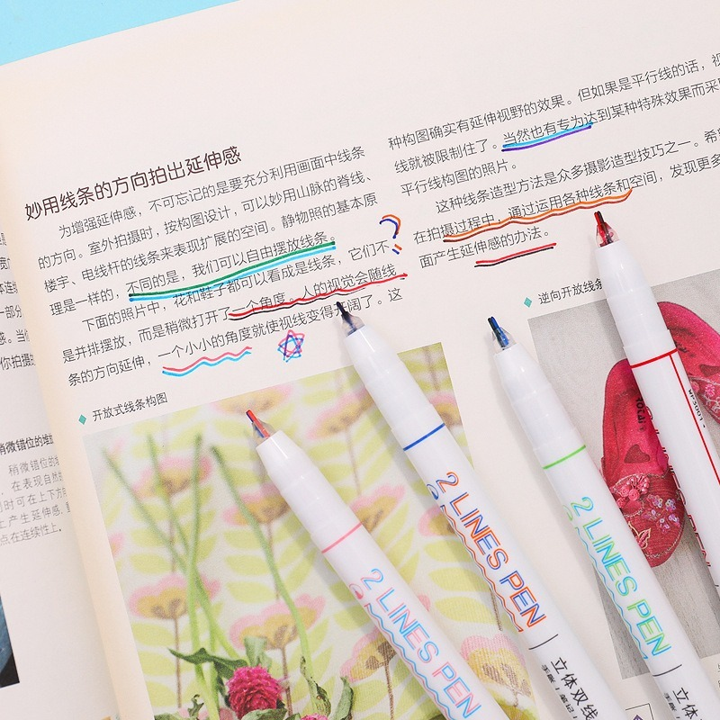 3D Double Line Marker Pen Art Comics Diy Student Bicolor Drawing Painting Markers School Office Kawaii Stationery