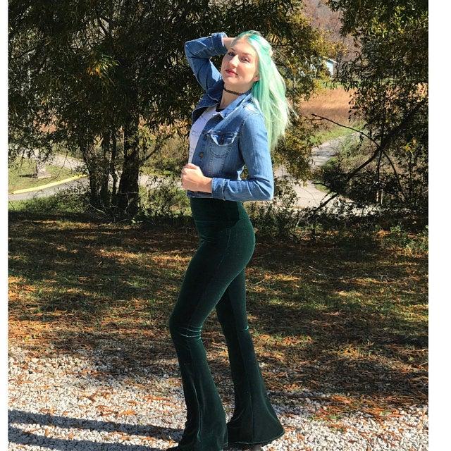 Velvet High Waist Flare Pants Elastic Trousers Boho Hippie Festival Bottoms