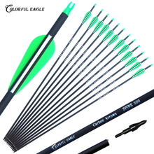 6/12/24/30pcs 28/30/31 inches Spine 500 Archery Carbon Arrow with Green White Color for Recurve/Compound Bows Hunting