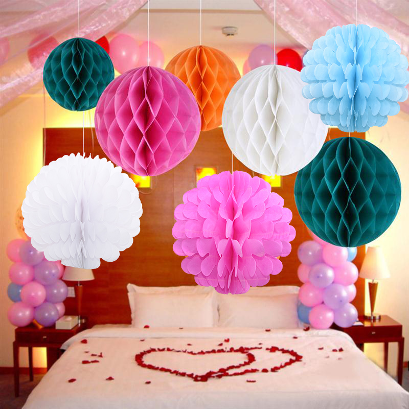 5pcs 20cm Decorative Flower Honeycomb Ball Paper Lantern for Wedding Birthday Party Decoration Baby Shower Supplies