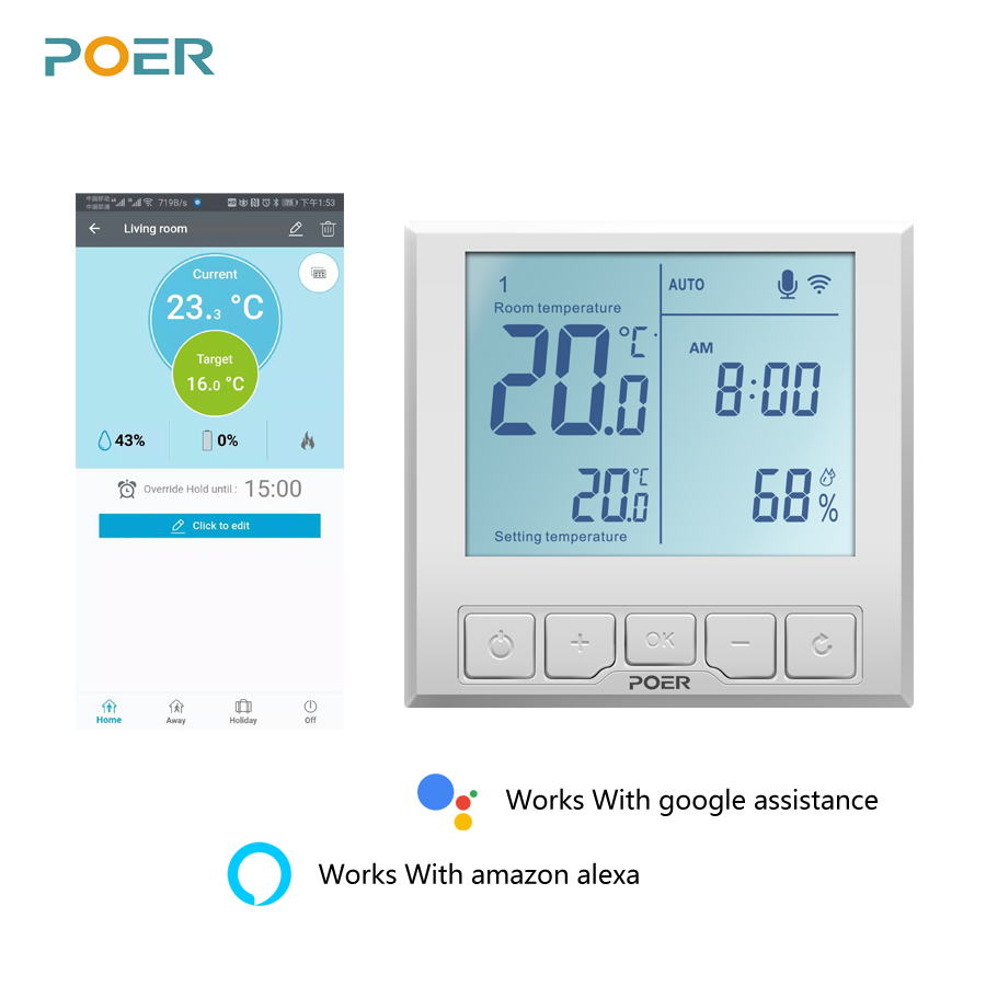 WiFi Smart Thermostat Temperature Controller for gas boiler electric underfloor heating humidity display works with Alexa