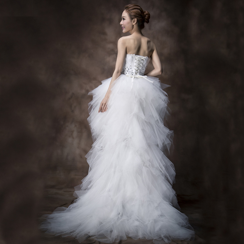 Mrs Win Wedding Dress Strapless Front Short Beck Long Ball Gown Princess Luxury Feather Wedding Dresse Vestido De Noiva