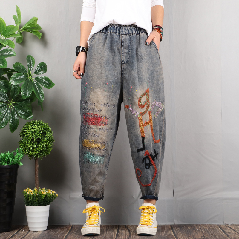 Spring Autumn Jeans Women Retro Embroidery Vintage Washed Letter  Painted Elastic Waist Female Loose Denim Straight Pants Tide