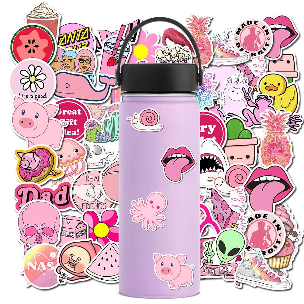 50 PCS Ins Style Pink Girls Graffiti Stickers For Chidren Toy Waterproof Sticker For Suitcase Laptop Bicycle Phone Helmet Decals