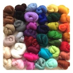 108g Mix 36 Colors Merino Felting Wool Tops Soft Roving Wool Fibre for Needle Felting & Wet Felting DIY Doll Needlework