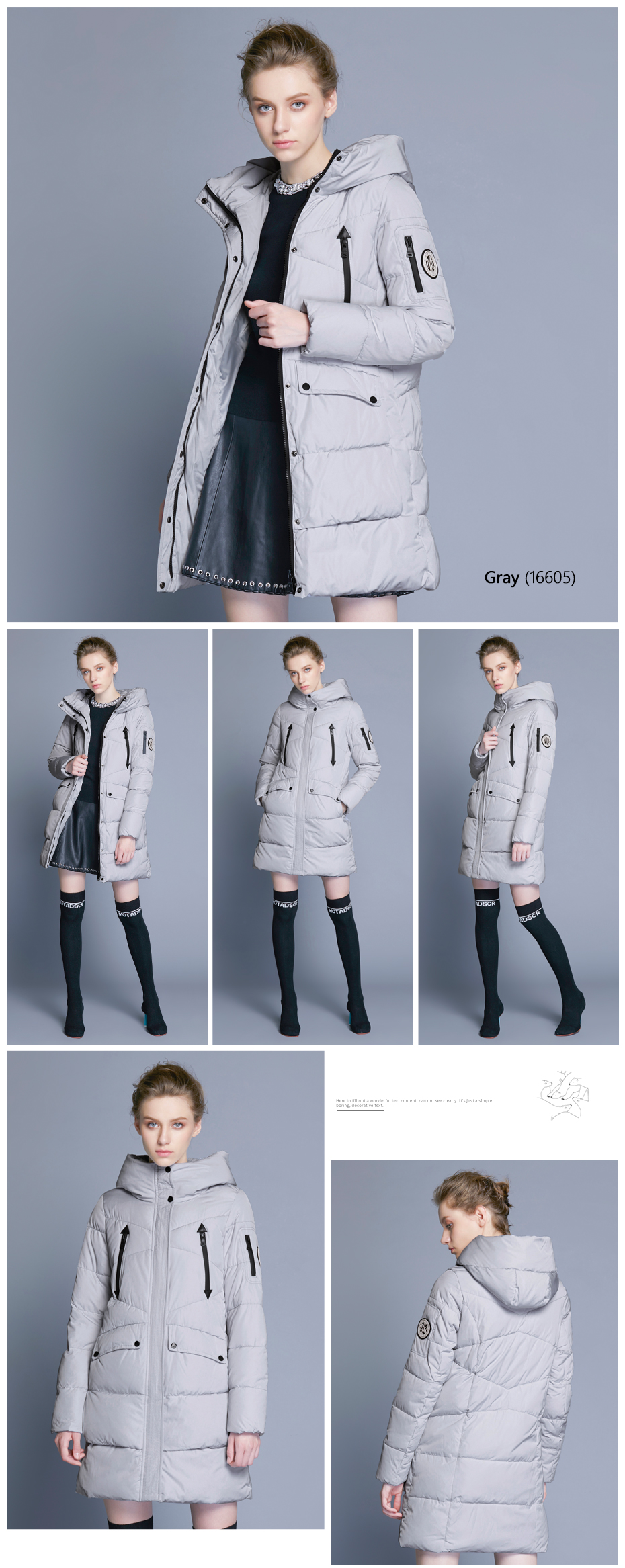 ICEbear 19 New Women Winter Jacket Coat Slim Winter Quilted Coat Long Style Hood Slim Parkas Thicken Outerwear B16G6155D 11