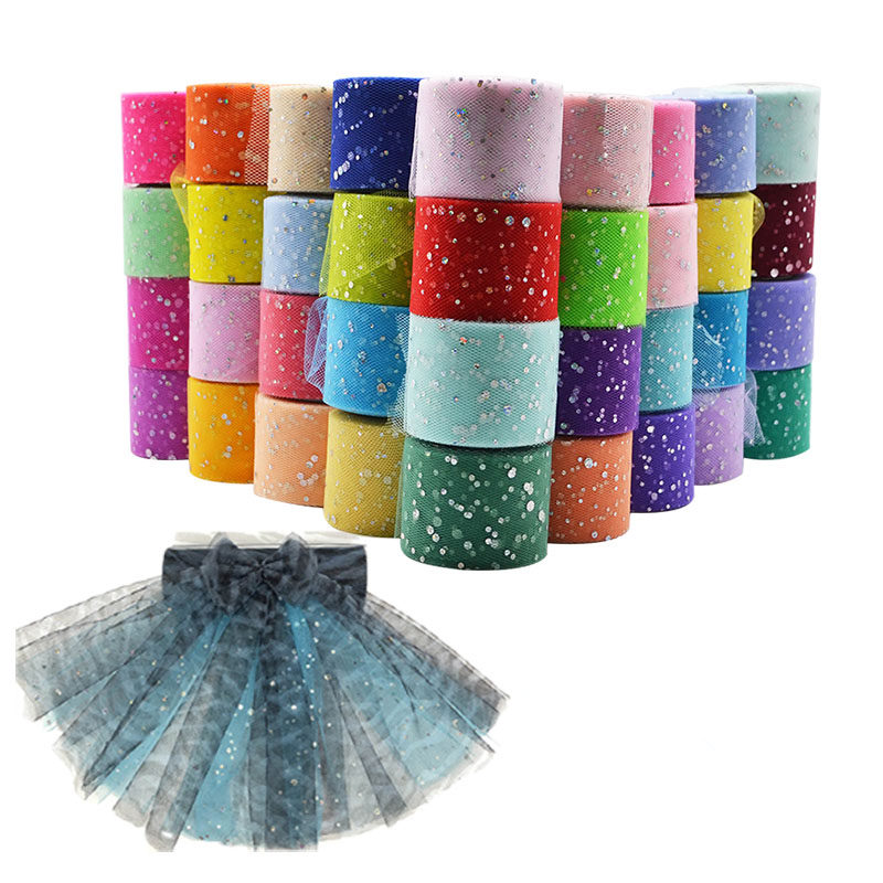 25 yards 5cm Glitter Sequin Tulle Roll Spool Tutu Skirt Fabric Wedding Decoration Organza Laser DIY Crafts Birthday Party Supply