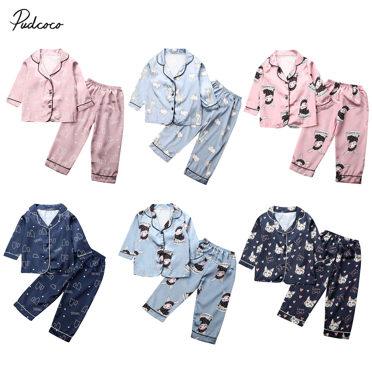 Outfit Pajama-Set Nightwear Animal-Print Baby-Boys-Girls Kids Brand New Autumn Winter title=