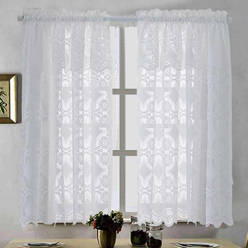 2019 Fashion Voile Lace Window Tulle Lightweight Window Curtain Breathable Short Tulle Elegant Window Curtain Living Room Decor