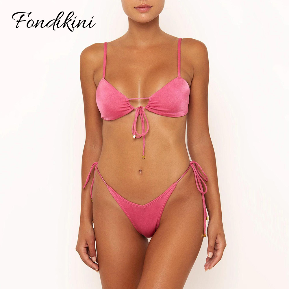 Pink Bikini Biquini 2020 Swimwear Women Push Up Swimsuit Sexy Bathing Suit Two Piece Traje De Bano Mujer Striped Monokini