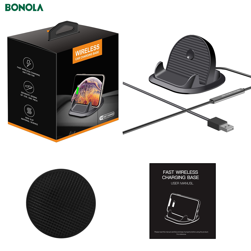 Bonola Fast Wireless Car Charger For iPhone11proXs Coil And PBC Motherboard Separate 10W Qi Car Phone Holder Wireless Charger  (10)