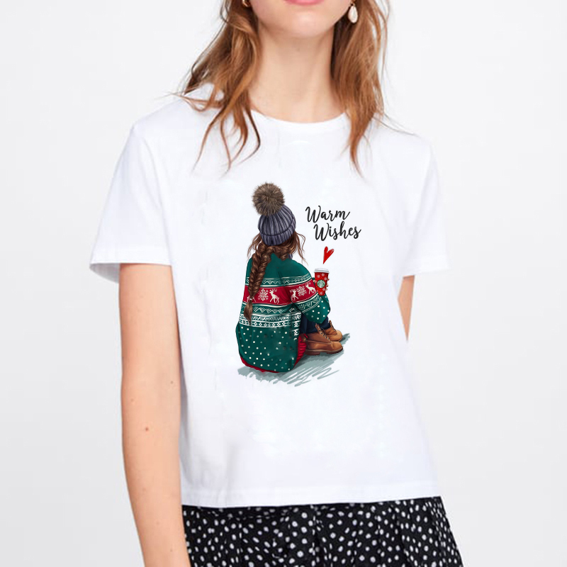2019 Merry Christmas harajuku Women T Shirt harajuku Women Fashion Tee Kawaii TShirt Fashion Hipster Christmas Party Style