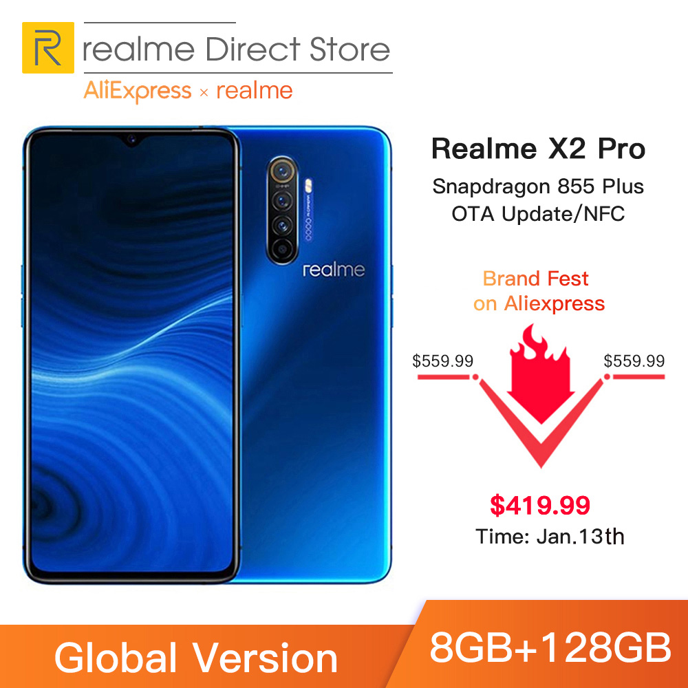 Global Version realme X2 Pro 8GB RAM 128GB ROM Mobile Phone Snapdragon 855 Plus 64MP Quad Camera NFC Cellphone 50W Fast charger title=
