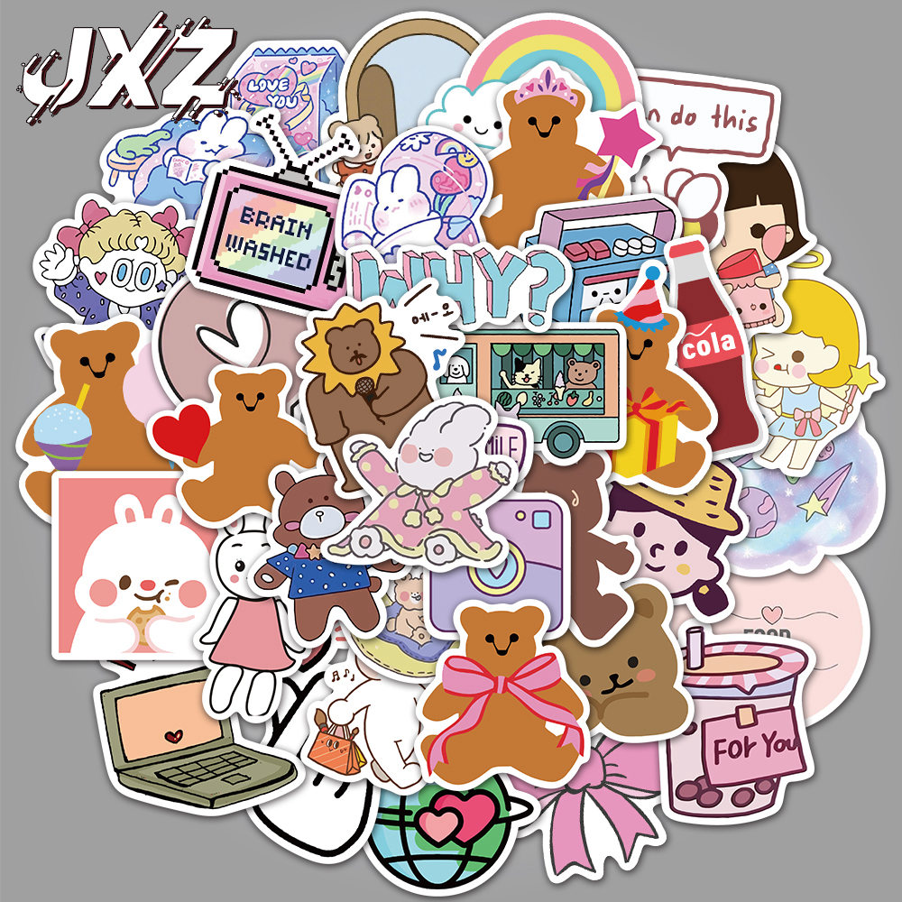 50Pcs Kawaii Stationery Stickers Cute Bear Stickers Lovely Girls Paper Stickers For Kids DIY Luggage Diary Scrapbooking Decals