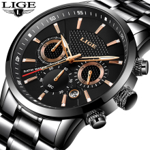 LIGE Waterproof Watch Quartz-Clock Business Sport Relogio Masculino Men Fashion Full-Steel