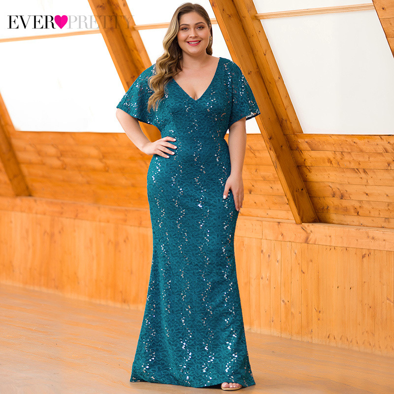 Plus Size Sequined Lace Evening Dresses Ever Pretty EP00704 Deep V-Neck Ruffles Sleeve Sexy Mermaid Dress For Party Abendkleider