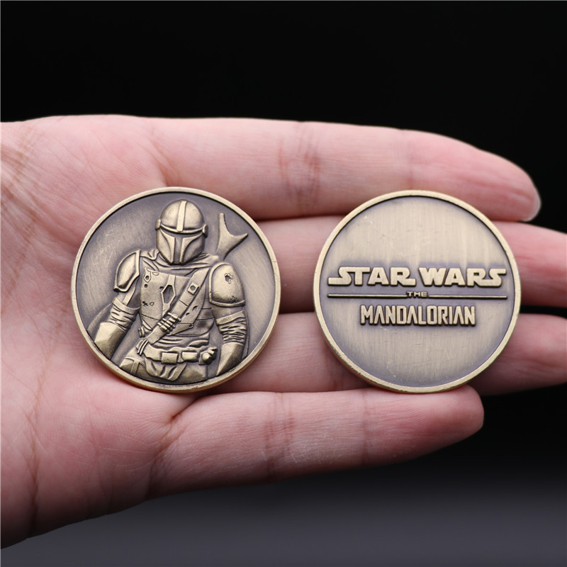 Star Wars The Mandalorian Collect Coin Bounty Hunter Boba Fett Cosplay Badge Metal Commemorative 3D Fans Fancy Gift Christmas title=
