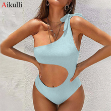 Swimsuit One-Pieces Monokini Push-Up Sexy One Shoulder Beach Women's Solid Blue Cut-Out