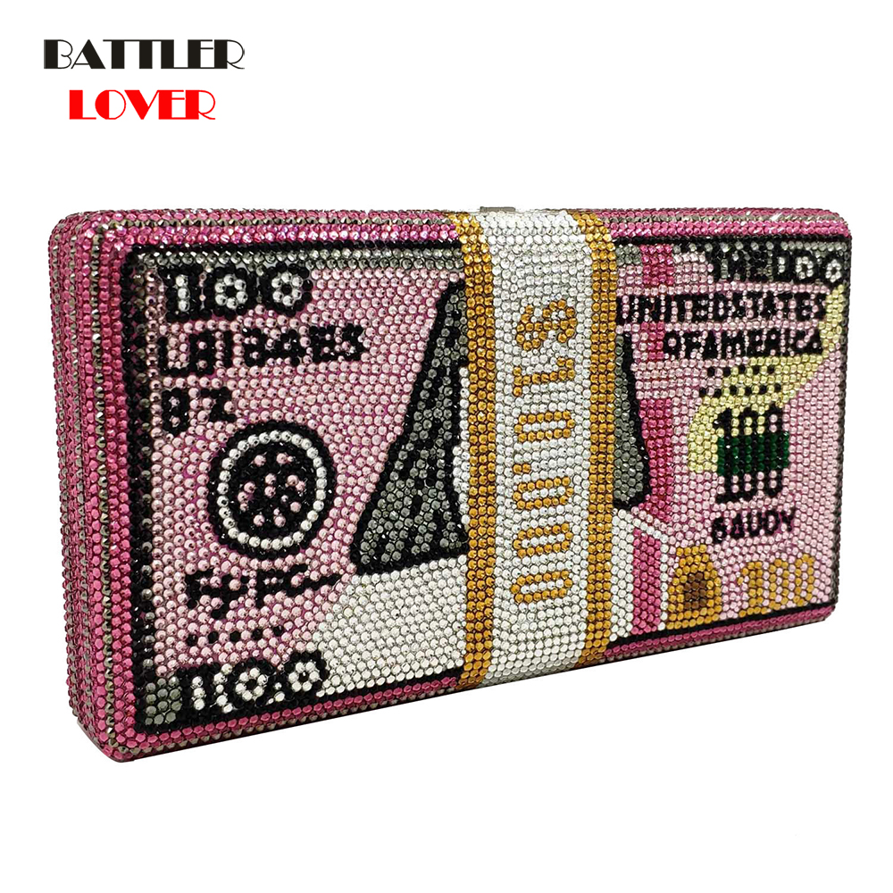 Unique Design USD $100 Dollars Money Clutch Women Crystal Diamond Celebrity Evening Bags Luxury Pink Party Purses Handbag
