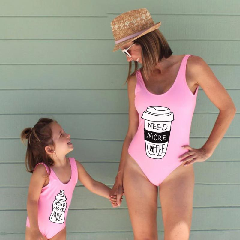 Family Matching Swimwear Swimsuits Bikini Mommy Daughter And Me Coffee title=